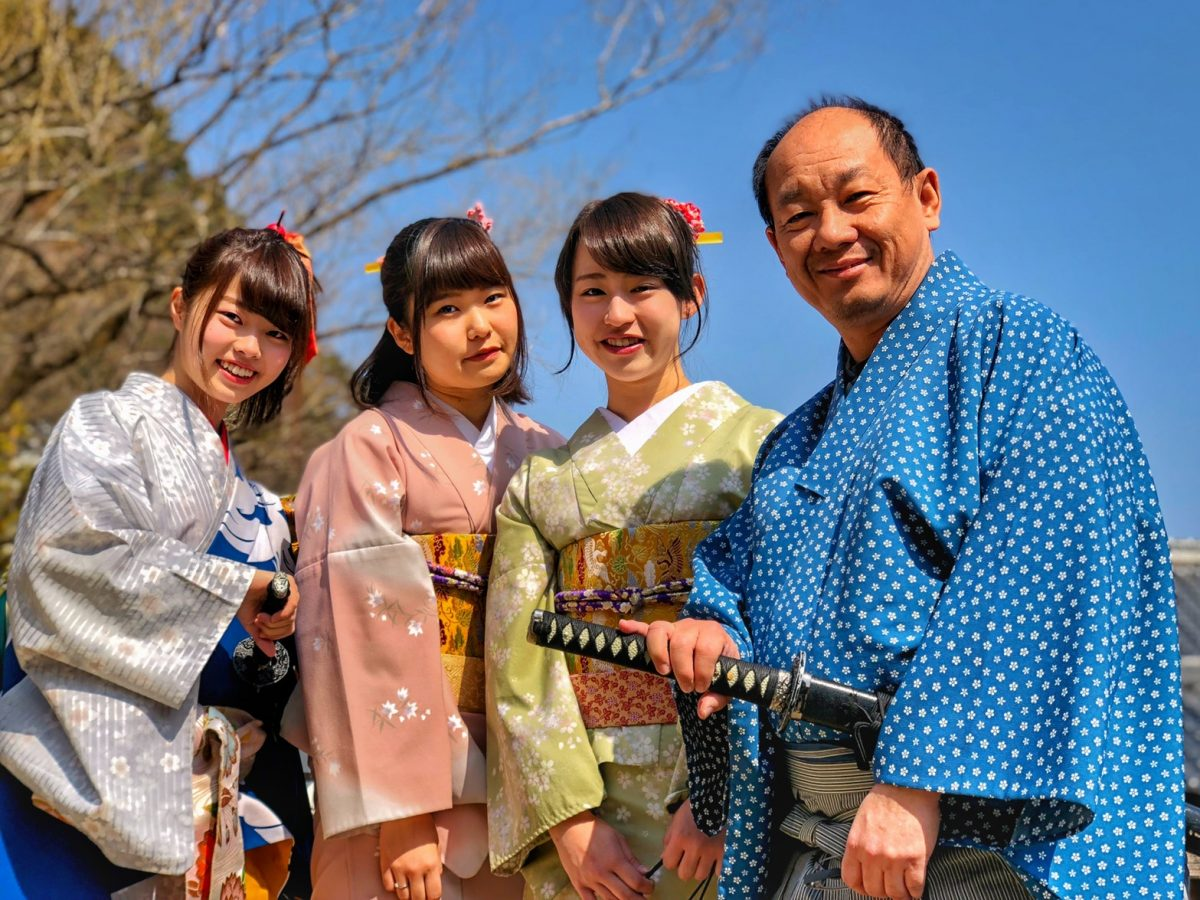 Travellers adorn the Kimono; a traditional Japanese robe in Kyoto