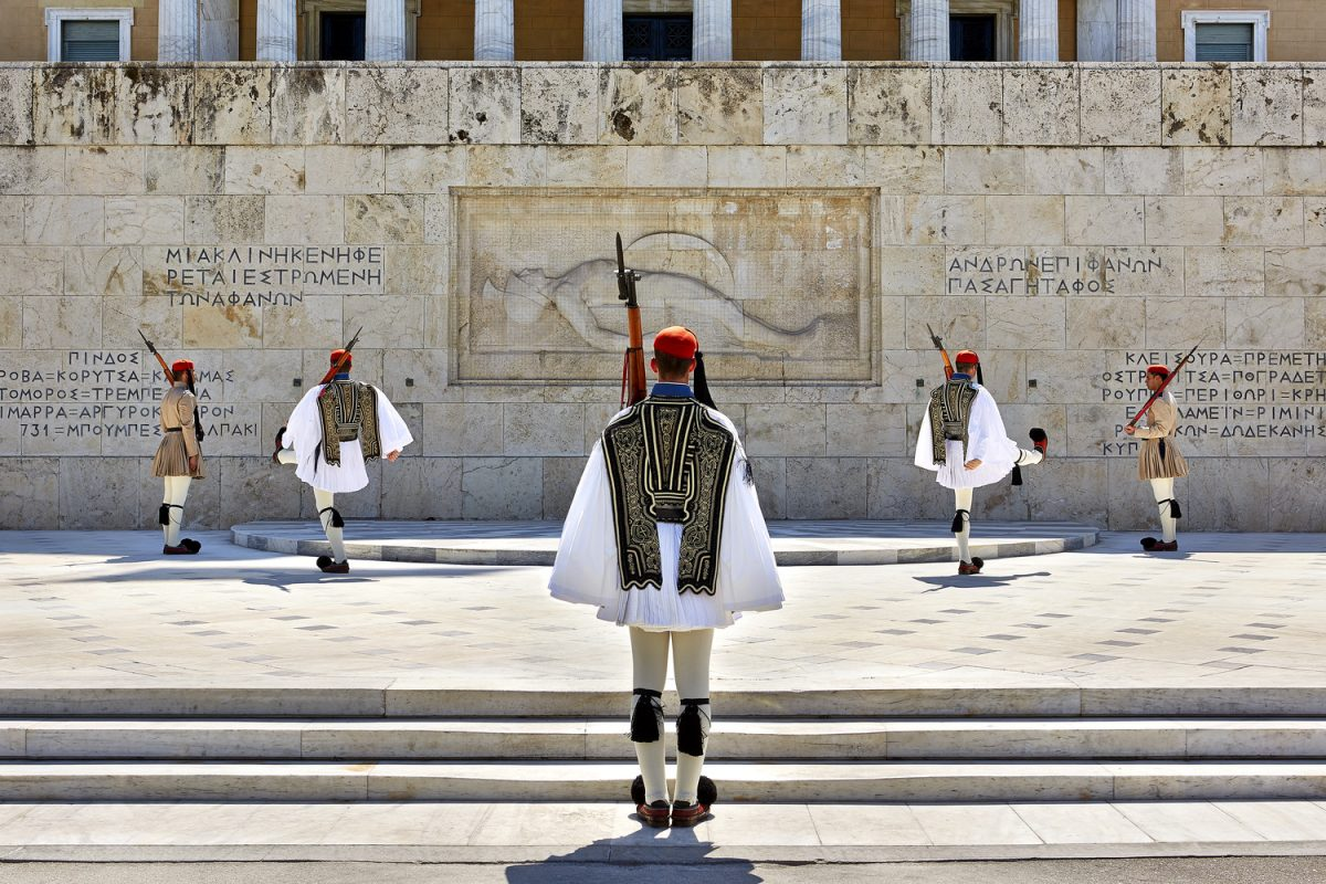 Changing of the Greek guards at the Tomb of the Unknown Soldier in Athens