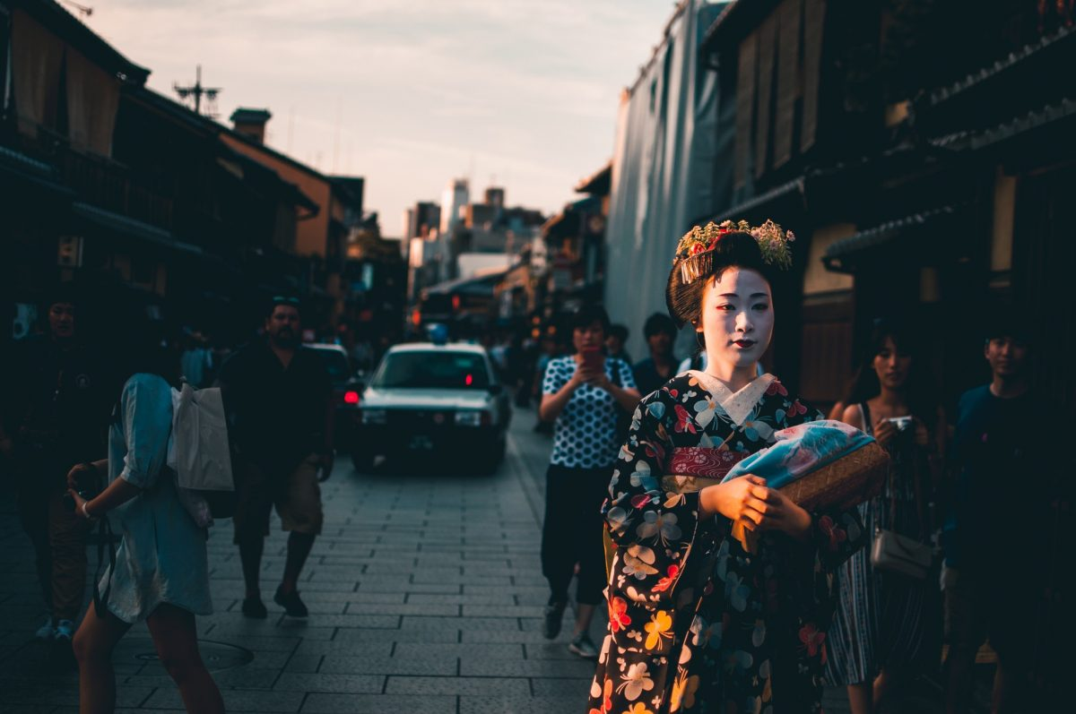 A Geisha walking on the streets of Kyoto