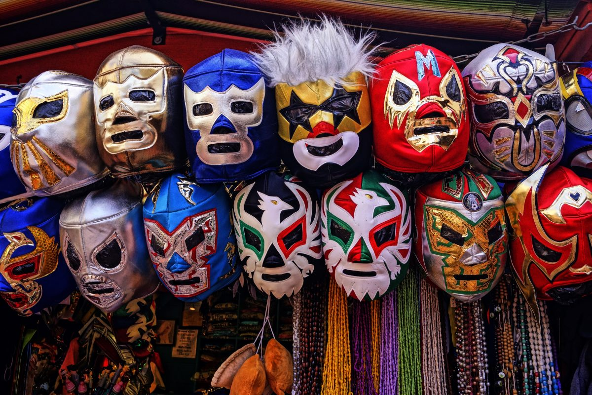 The Lucha Libre Masks, part of the Mexican Wrestling sport gear in Cancun, Mexico
