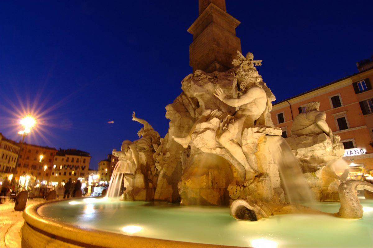 Fontana dei Quattro Fiumi fountain in Rome, Italy