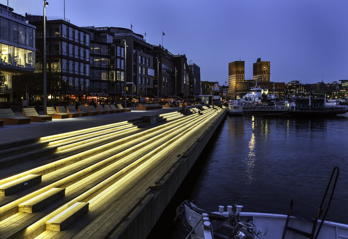 Night shot by the quay at Oslo's Aker Brygge overlooking the Atlantic Ocean