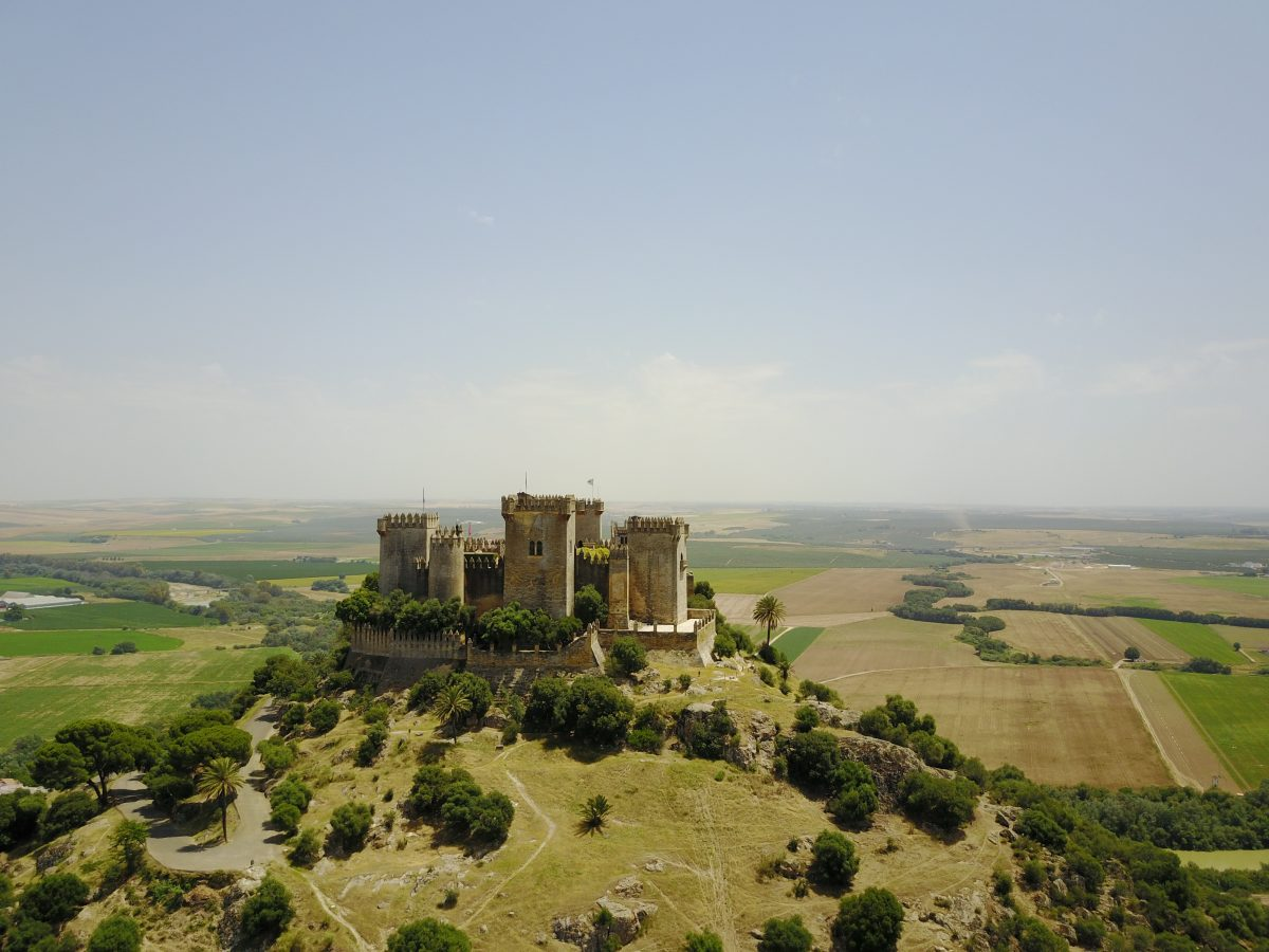 A majestic medieval castle that sits atop a hill in Europe