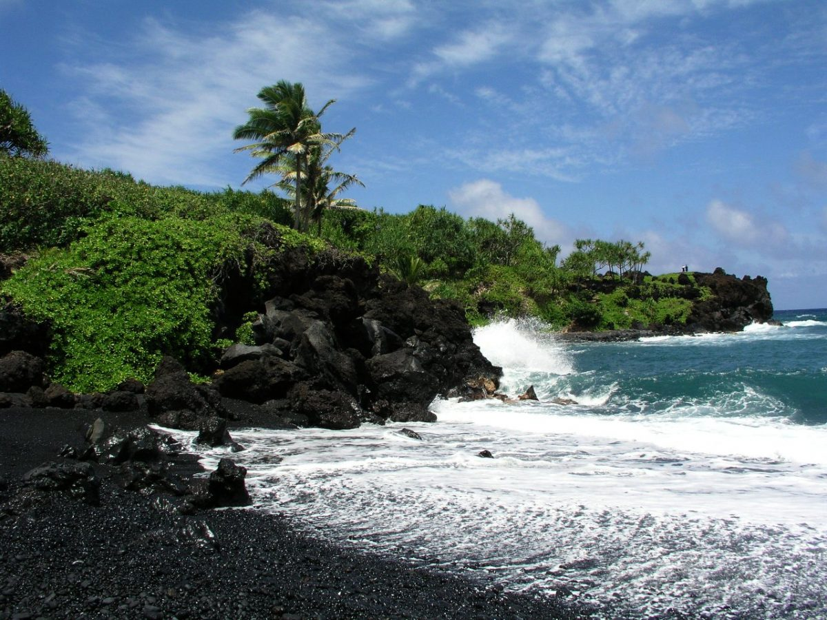 black sand beach at Wai'anapanapa State Park, Hawaii