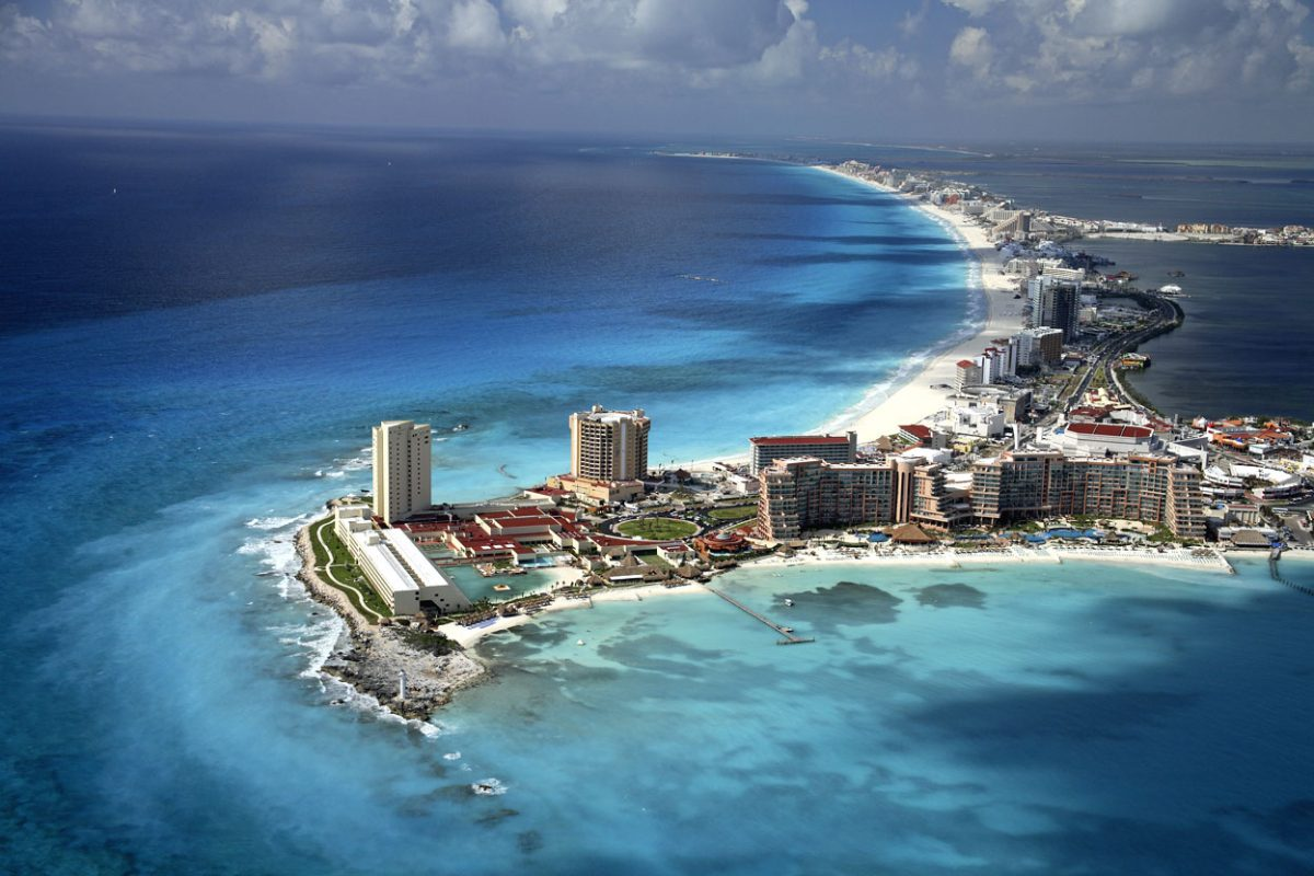 An aerial view of Cancun's Hotel Zone and coastline