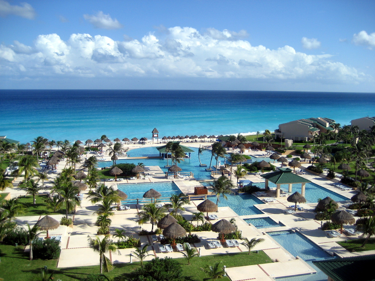 The view of Cancun Beach from a resort