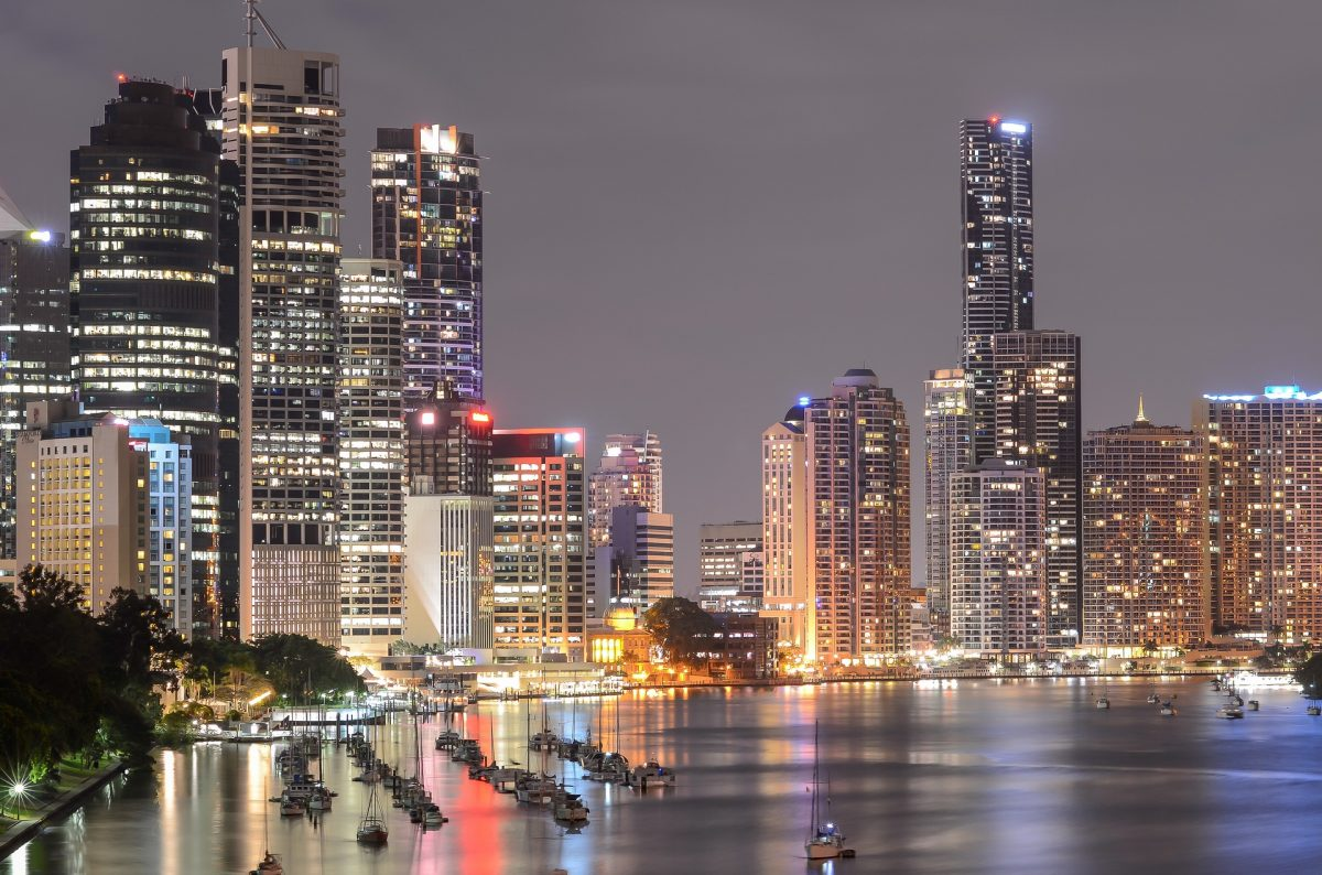 Brisbane's night skyline depicting an overview of the CBD