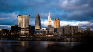 A stunning view of Cleveland's CBD skyline which also contains the Terminal Tower