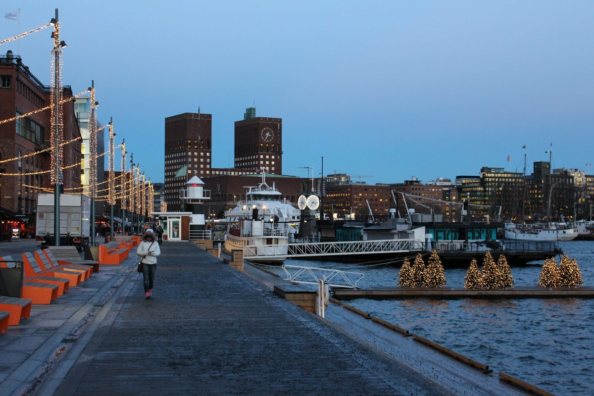 Waterfront view at Oslo in the evening during the winter season