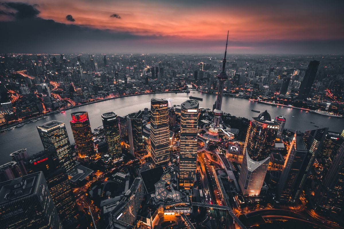 Aerial view of Shanghai's CBD and the Huangpu River in the evening