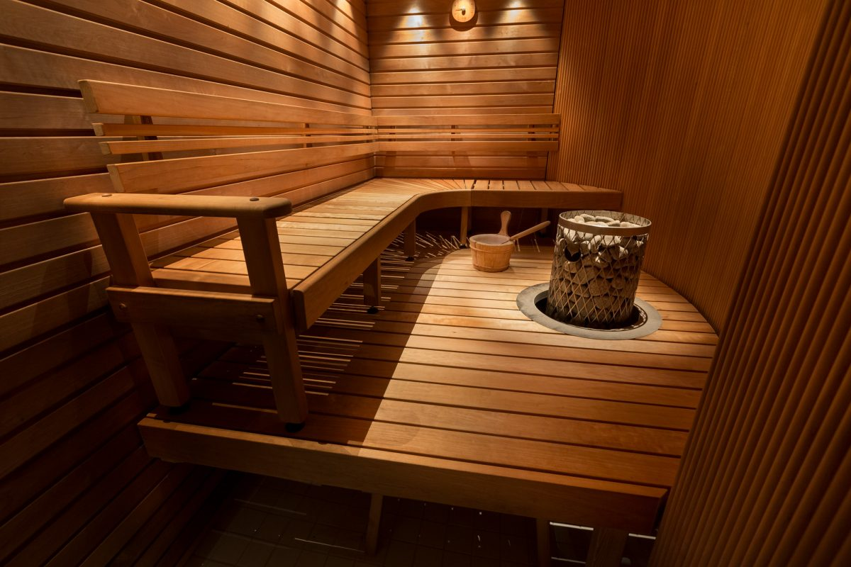 Finnish Sauna with stone in wooden cabin