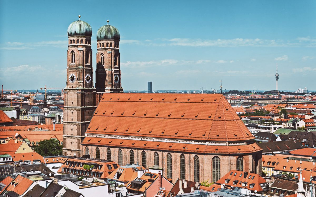 Frauenkirche Munich view with iconic two onion domes taken from Peterskirche Munich Germany