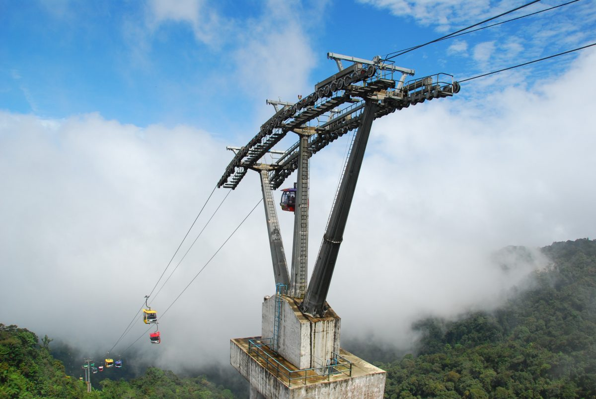 Genting Highlands cable car over the clouds over the mountains