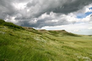 The lush landscape at Head-Smashed-In Buffalo Jump in Alberta, Canada