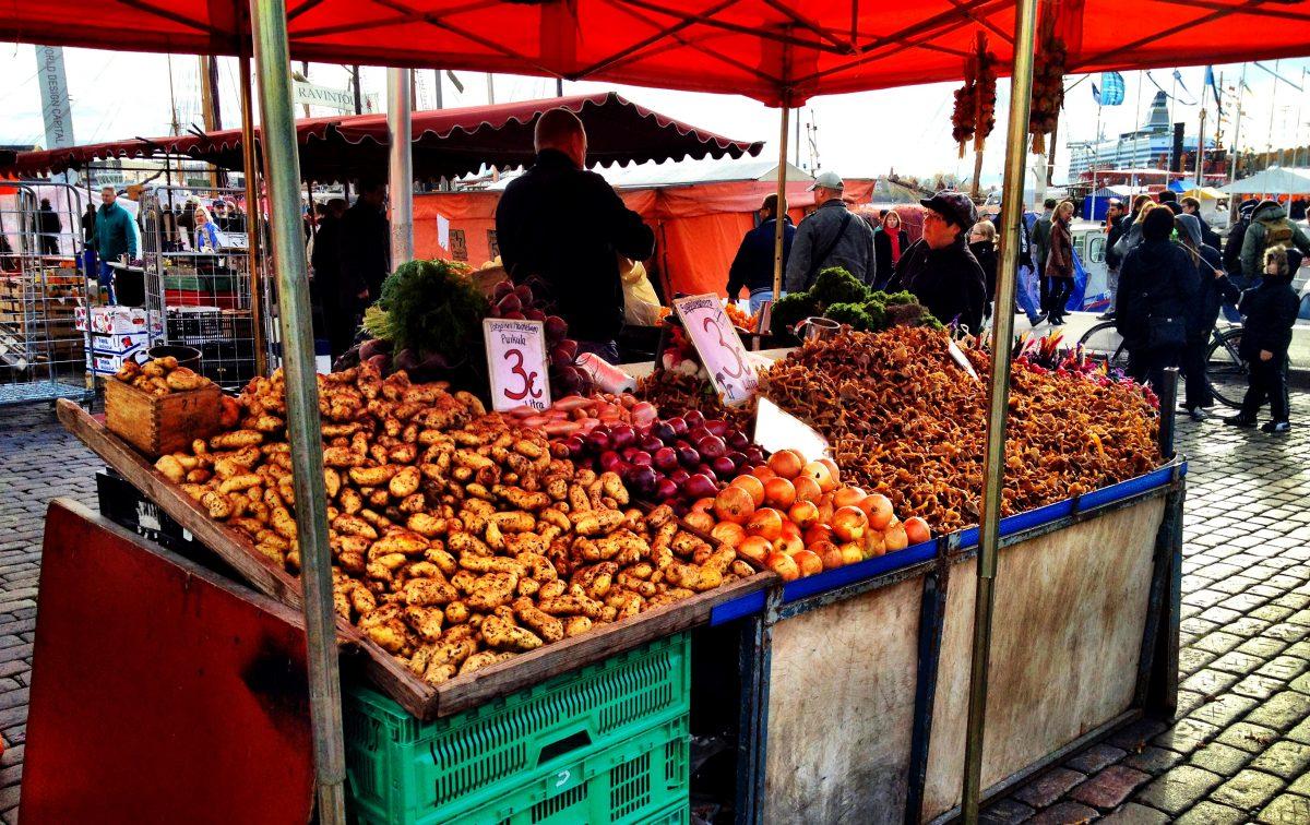 Colourful fresh Finnish fruits at Market Square Helsinki