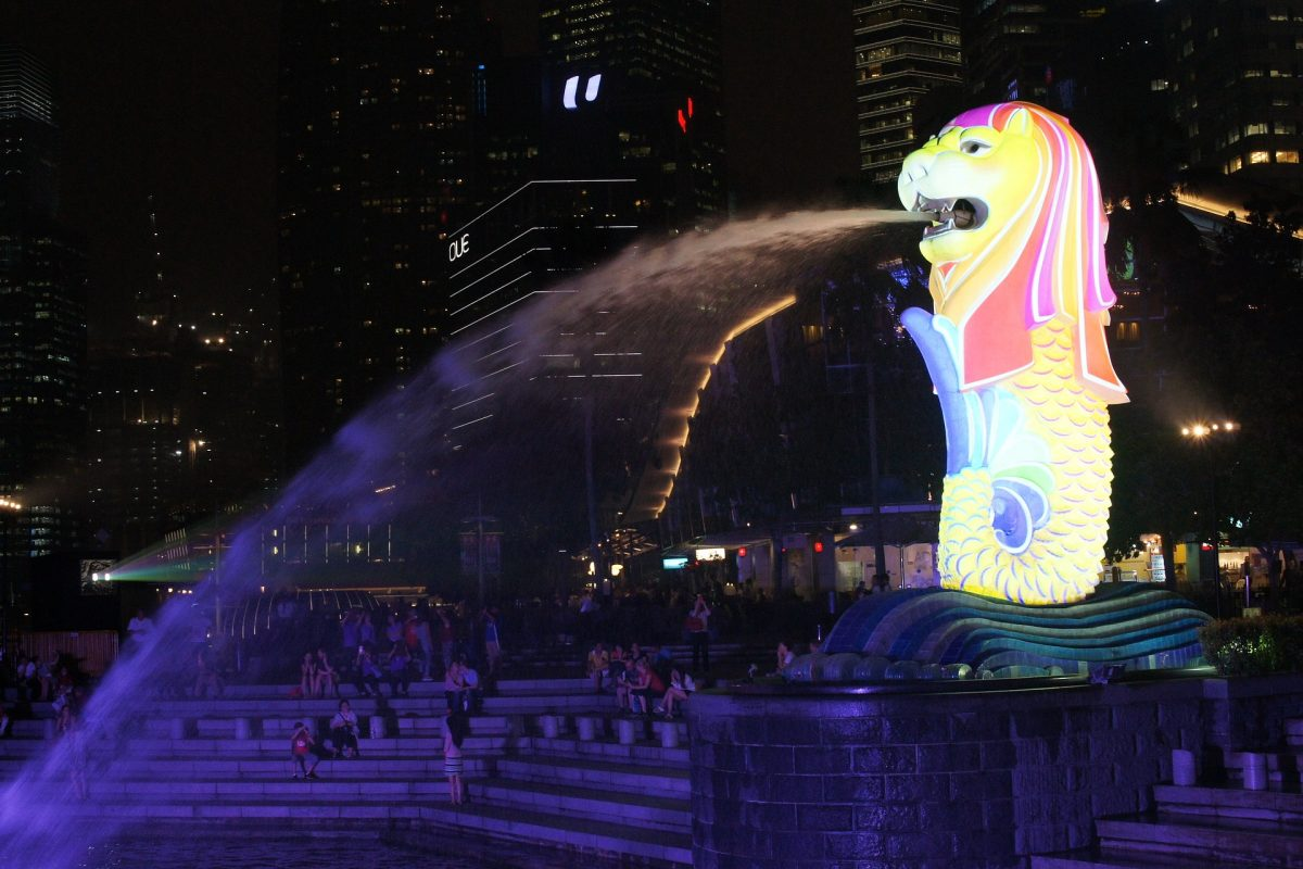 The lights at Merlion Statue in Singapore's CBD at night