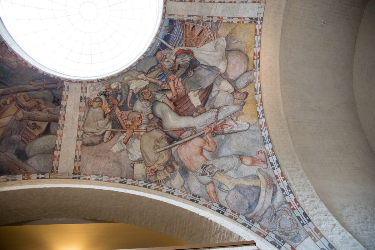 Classical artwork wall paintings in National Museum Finland