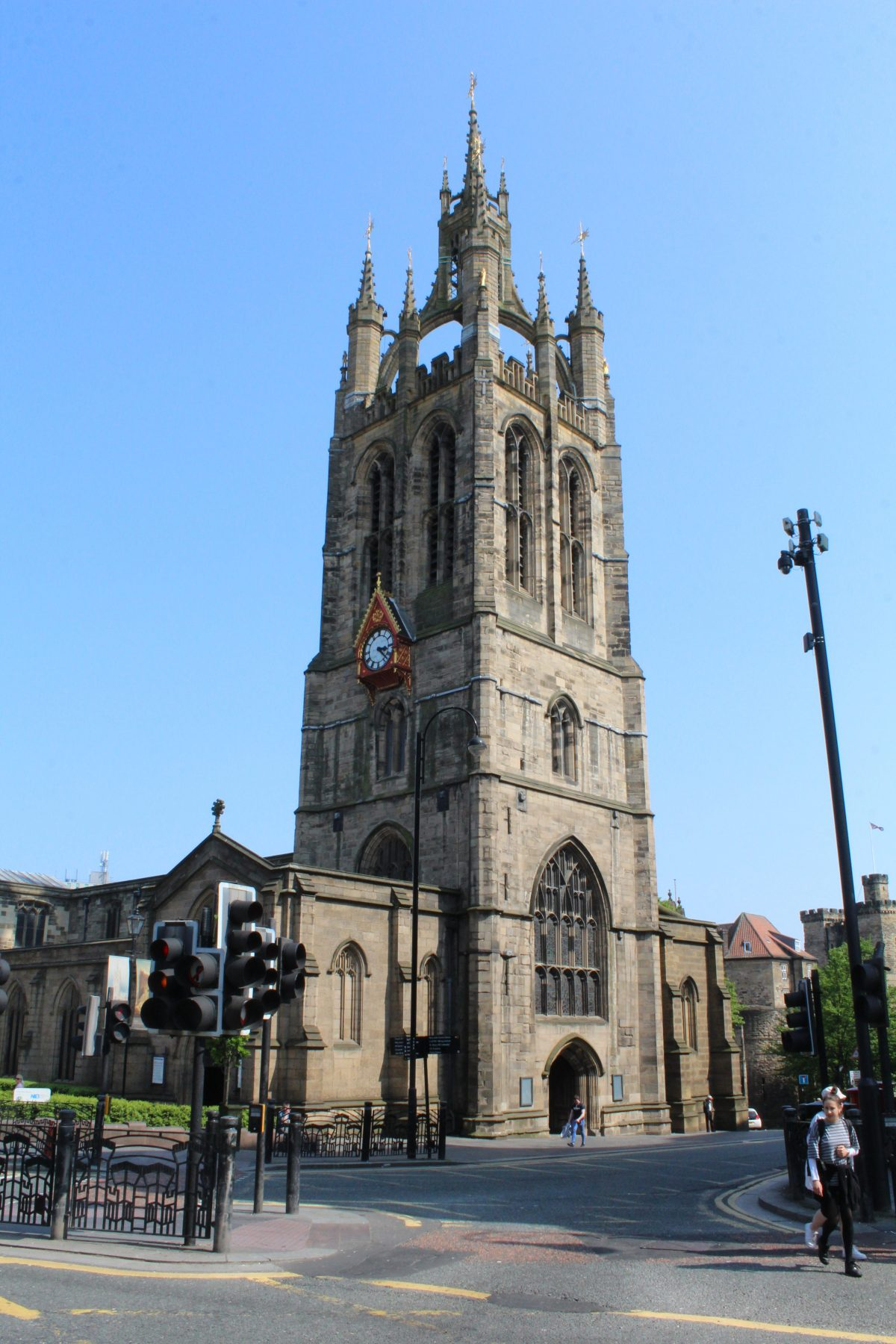 First person view of the Newcastle Cathedral from across the road