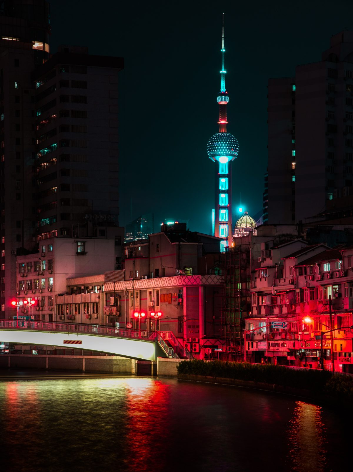 Awesome view of the illuminated Oriental Pearl Tower at night