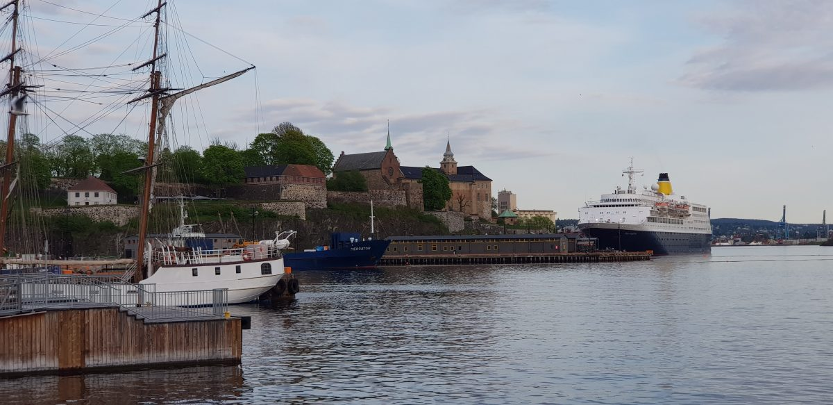Wonderful sight of the Oslofjord wharf with clear water and many ships