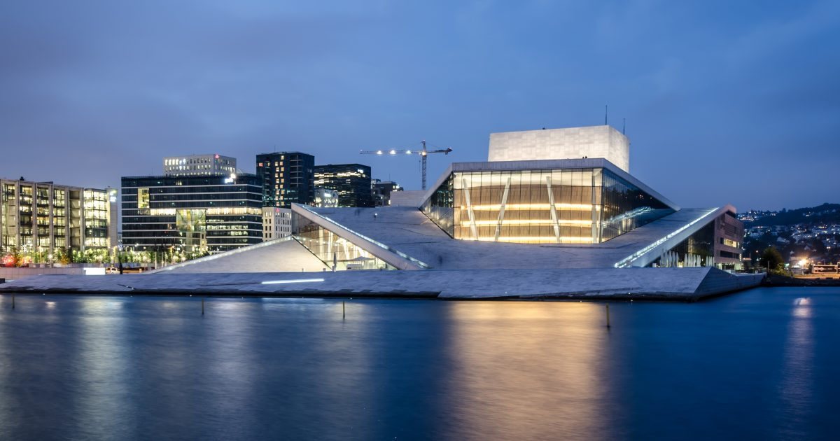 The stunning architecture of the Oslo Opera House amid the night sky