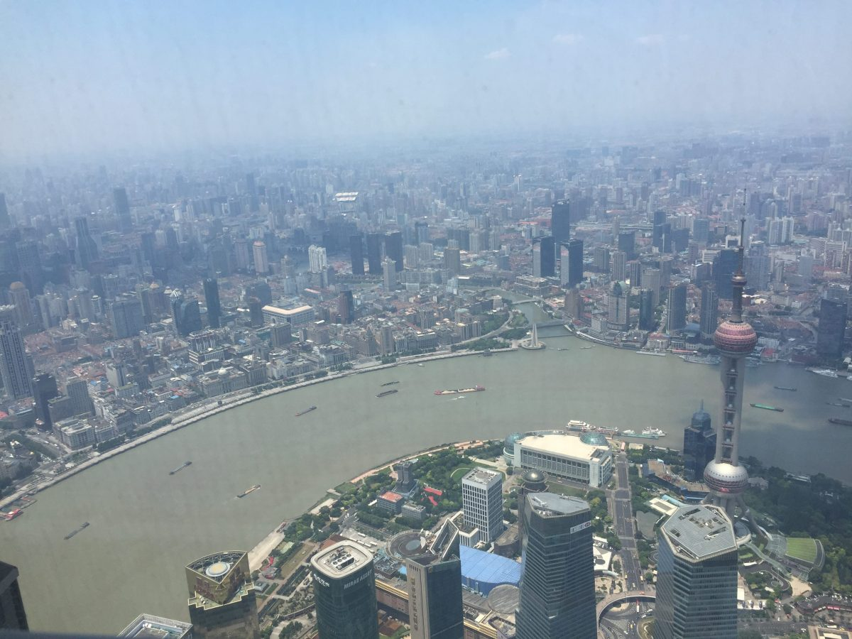 Scenic view of Shanghai city from Shanghai Tower's observation deck, the world's largest indoor observatory