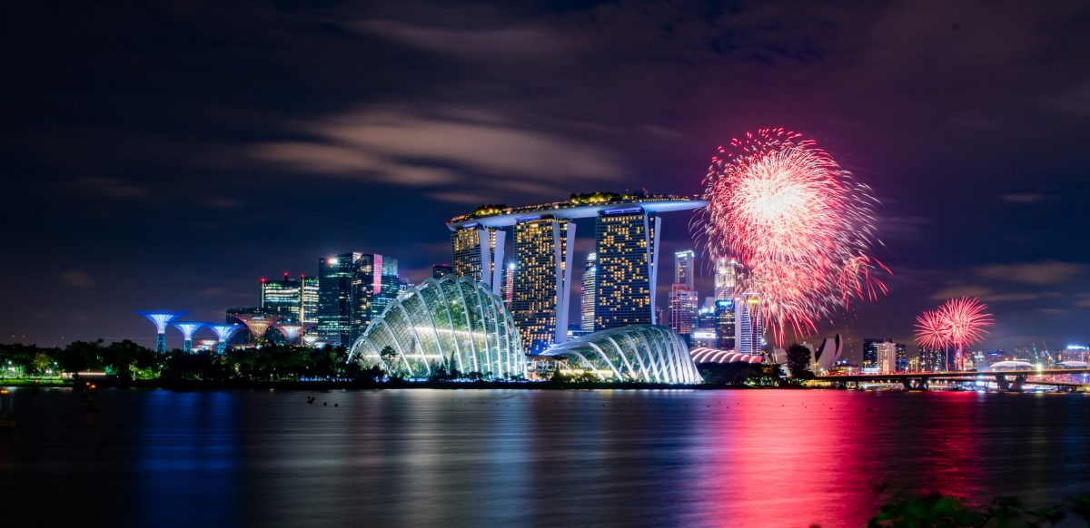 A display of fireworks over Singapore's stunning skyline