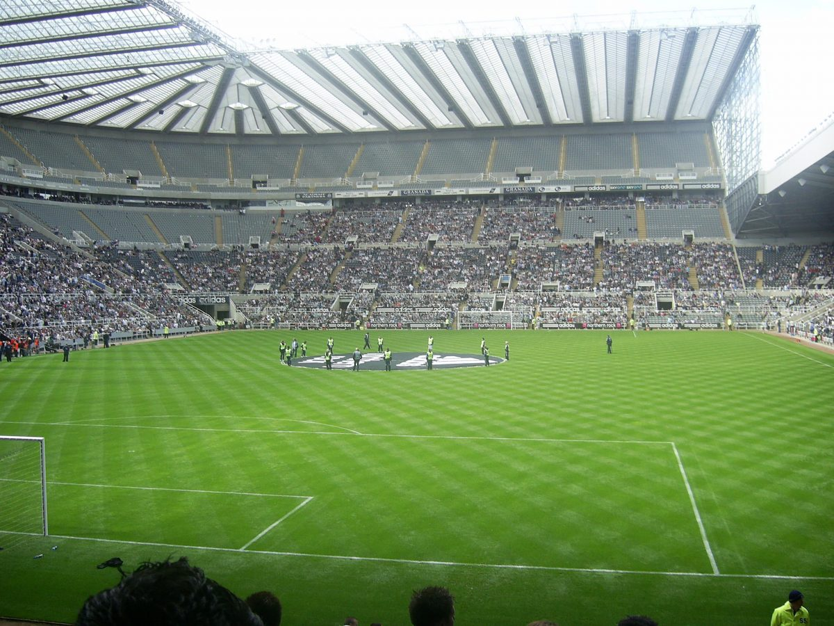 Pre-match scene during a Newcastle United game at St. James' Park