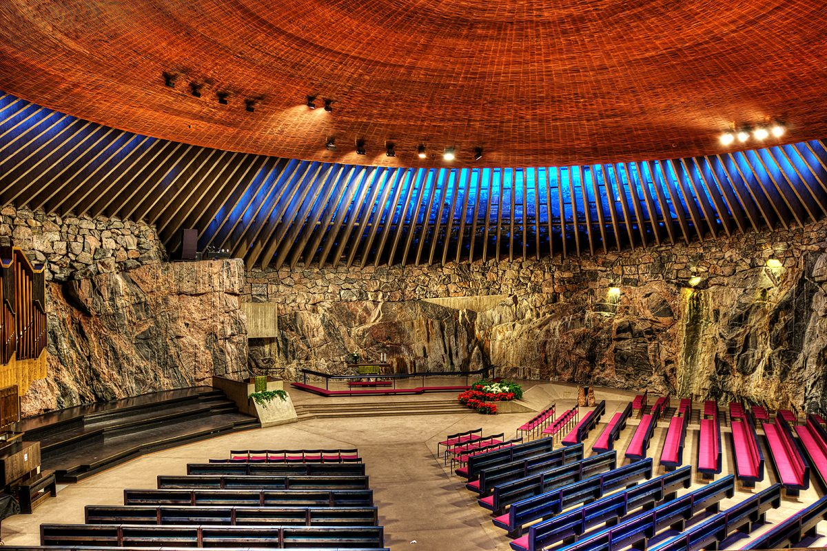 Spacious Rocky Temppeliaukio Church with Copper Roof