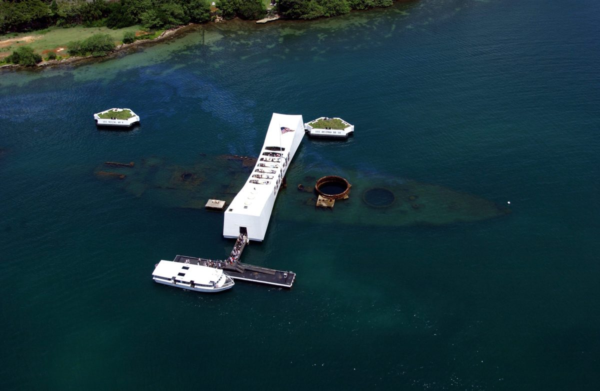 The Aerial View of Pearl Harbour and USS Arizona Memorial, Oahu
