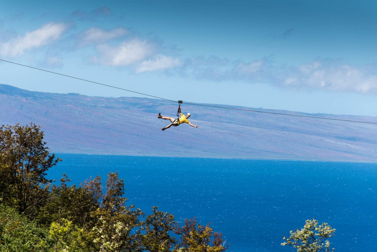 Zip-lining in Ka'anapali, Hawaii