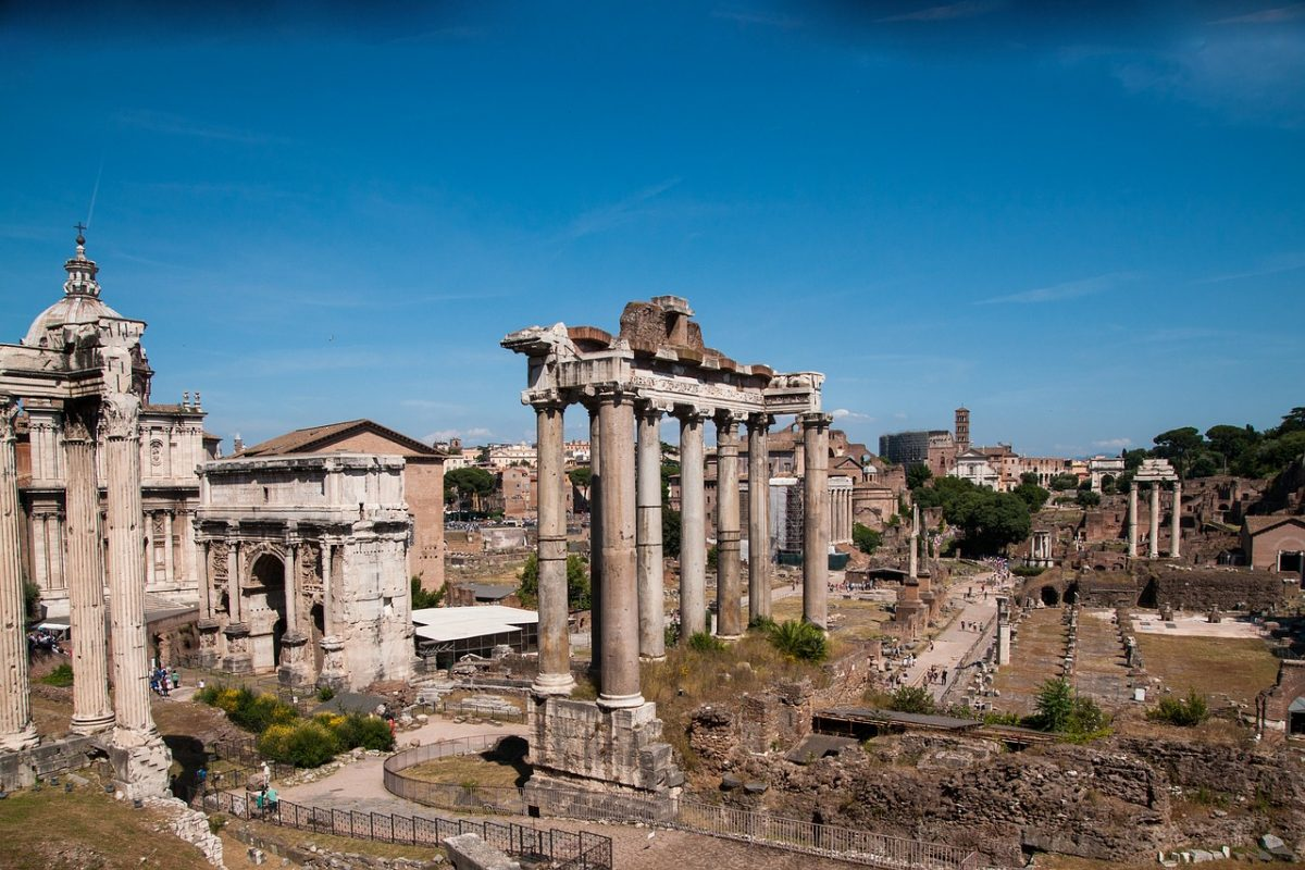The ruins at Palatine hill in Rome, Italy