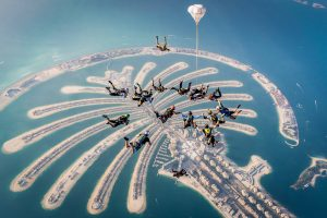 The sky diving at palm islands, Dubai