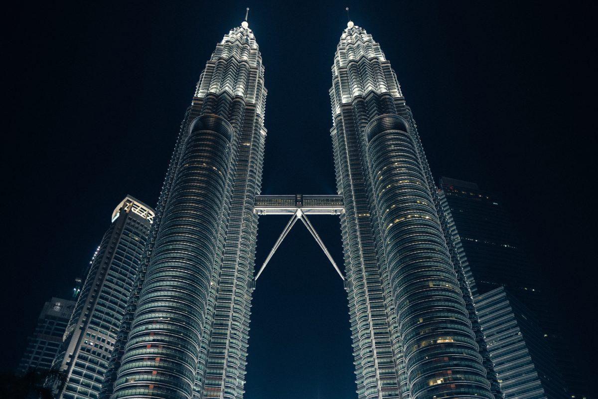 Lighted Petronas Twin Towers night view
