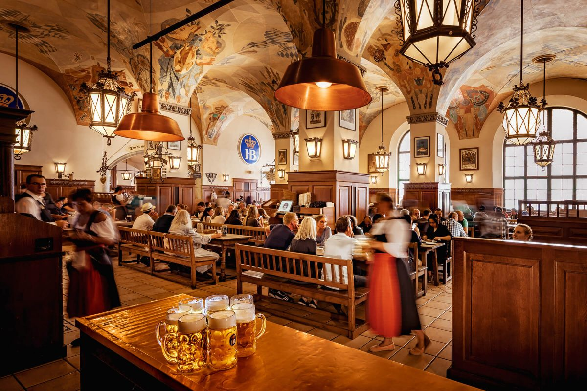 Colorful illustrations adorn the ceiling of world's famous pub Hofbräuhaus