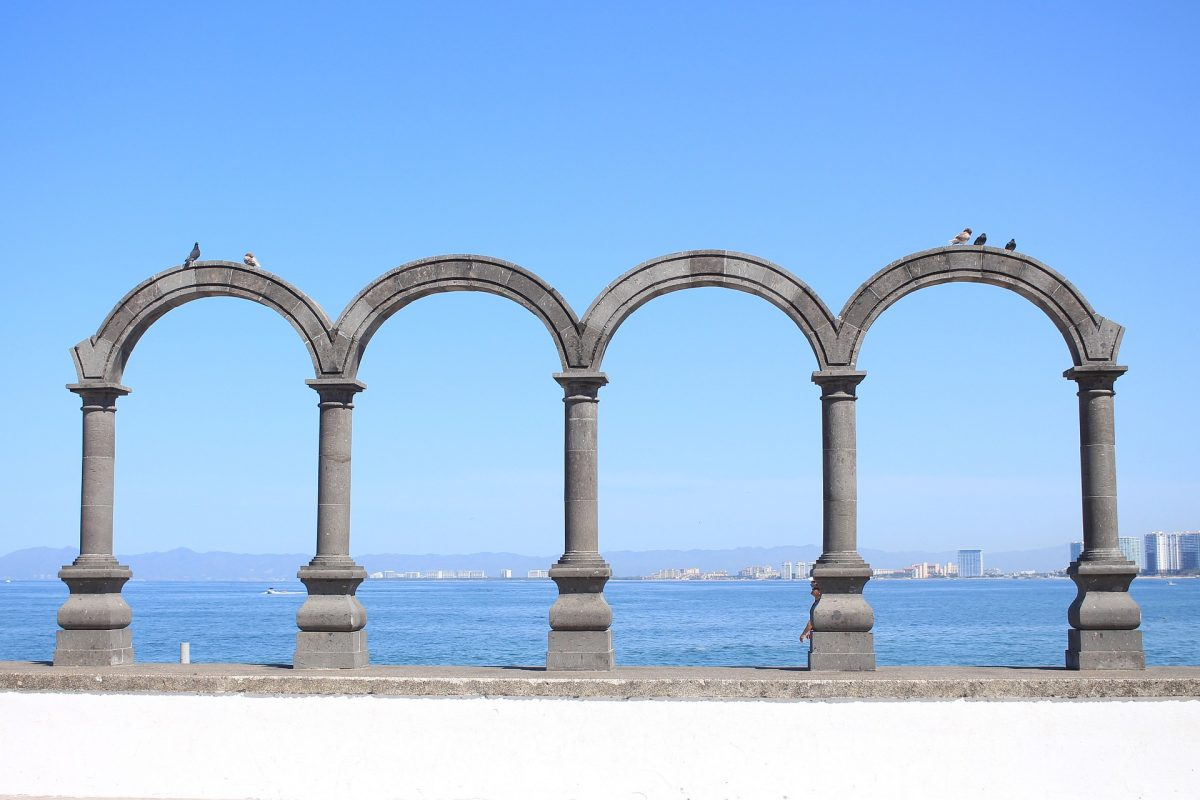 The four stone arches at the Arches Amphitheatre are symbols of Puerto Vallarta