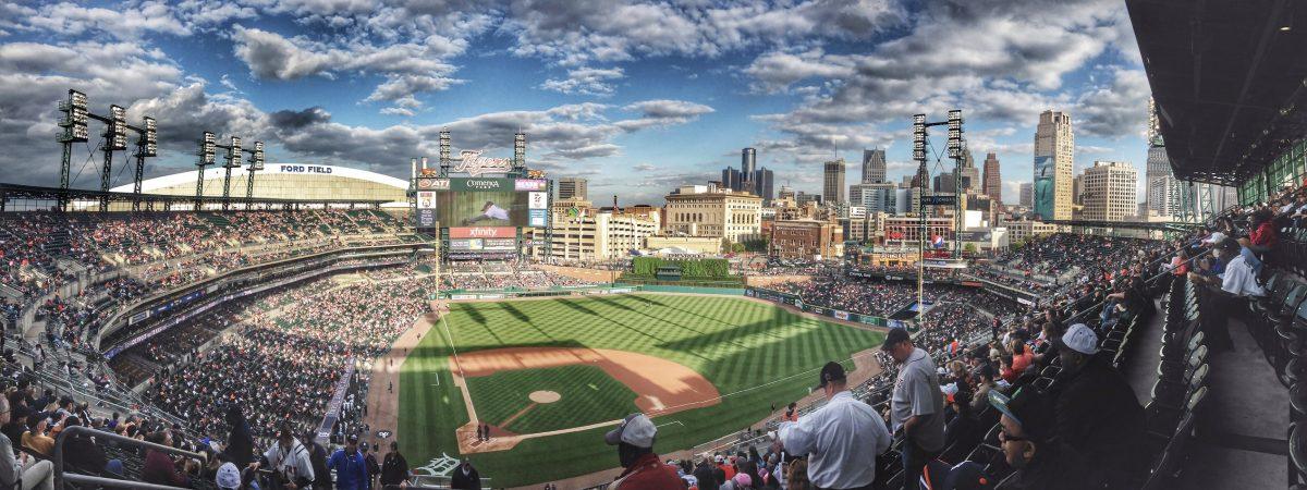 A panorama of a Baseball Field