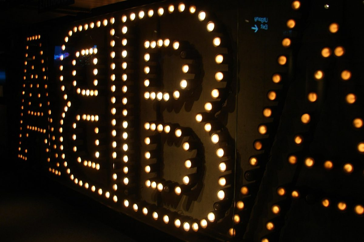 "ABBA Museum, pretty decorative lights on a classy dark wall, spelling out the name ""ABBA"""