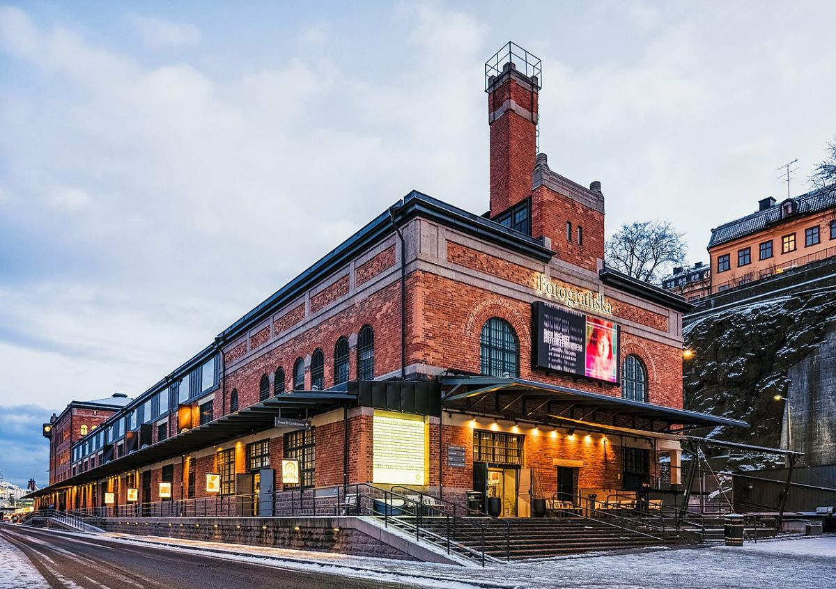 "Fotografiska, beautiful shot of the red brick ""photo museum"" building"