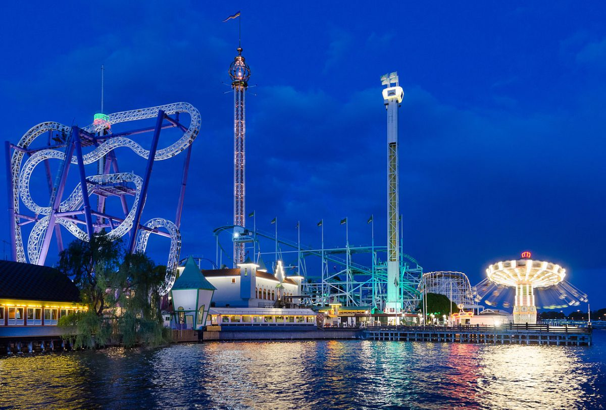 Gröna Lund, a beautiful night time view of the amusement park illuminated by lights