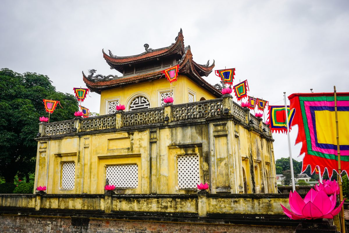 Iconic yellow painted Imperial Citadel of Thang Long, Hanoi