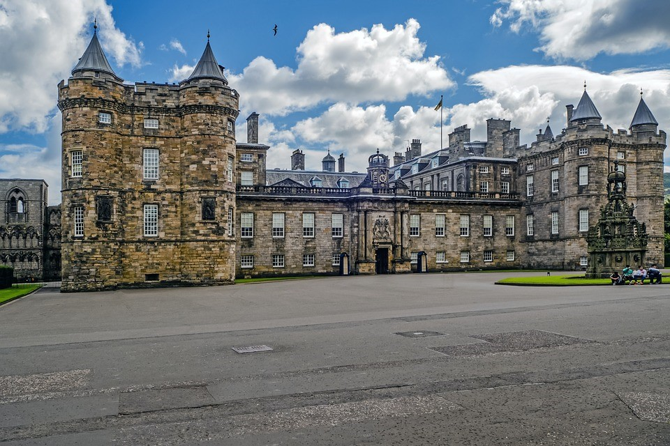 Holyrood Palace in Edinburgh, Scotland is the official residence of the British monarch when carrying out royal engagements in Scotland