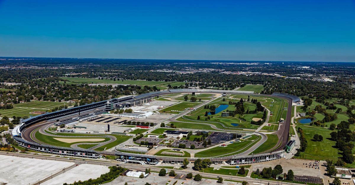 An aerial view of Indianapolis Motor Speedway