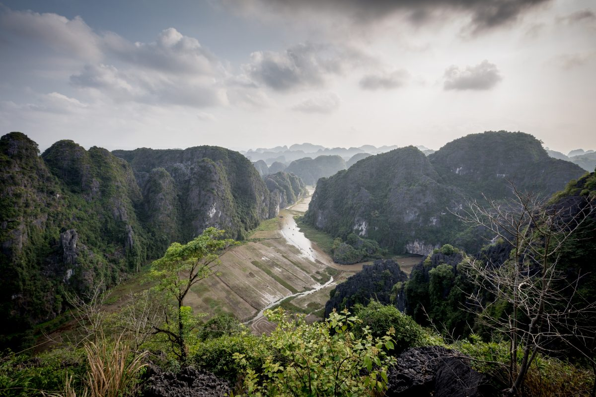 Panoramic view of Red River from Ba Vi National Park