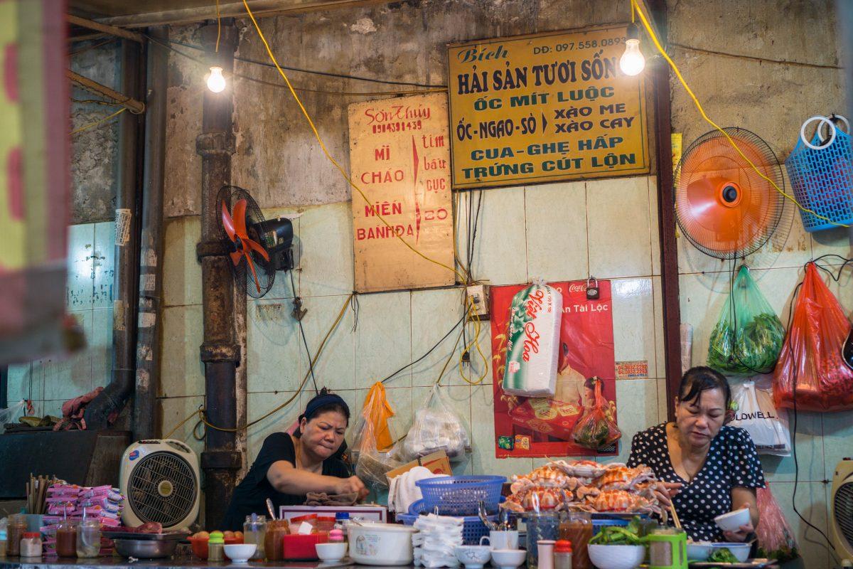 Authentic Hanoi street food on street cart