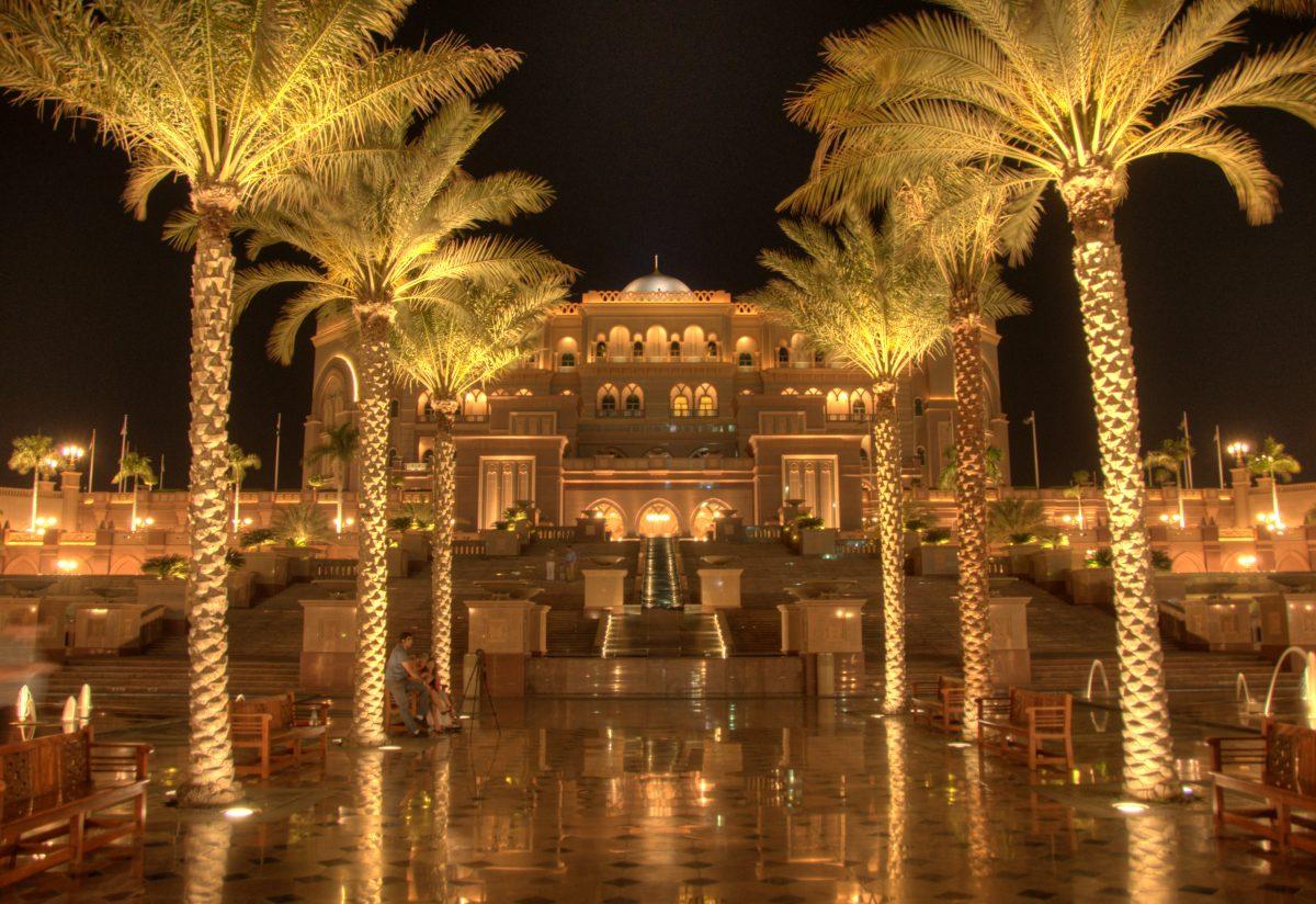 Stunning night view of Emirates Palace Abu Dhabi