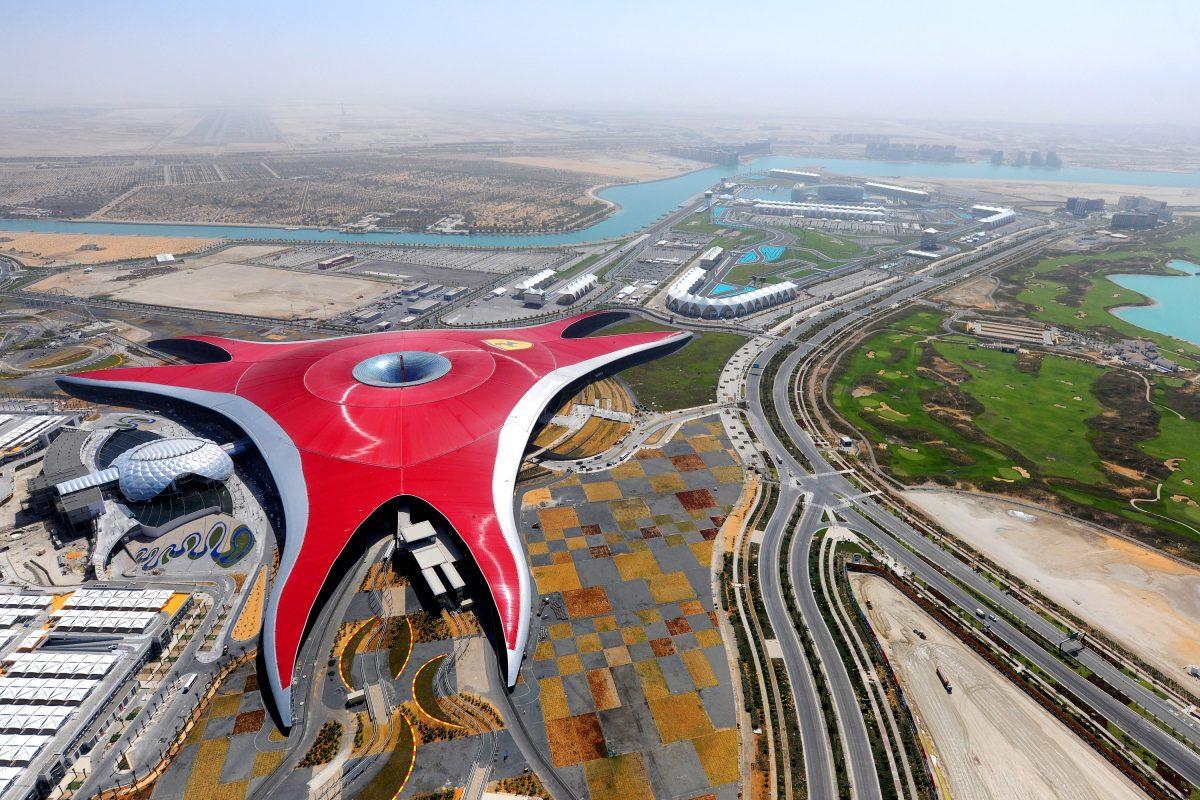 Iconic Ferrari red shield at Ferrari World, Abu Dhabi