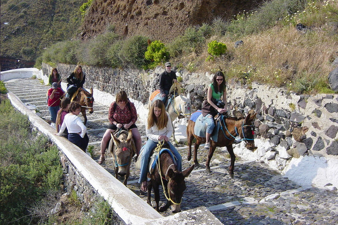 Traditional Donkey ride at Santorini, Greece