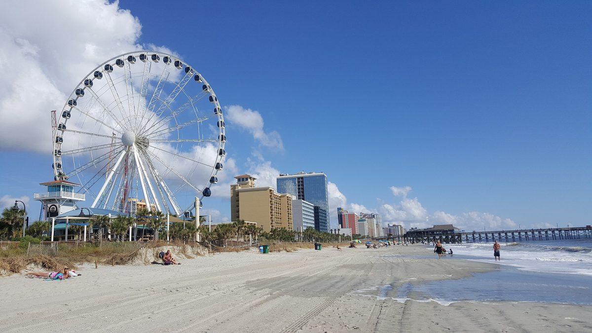 Take a stroll along the Myrtle Beach Boardwalk and take a ride on the Myrtle Beach Skywheel, one of the tallest Ferris wheels in North America
