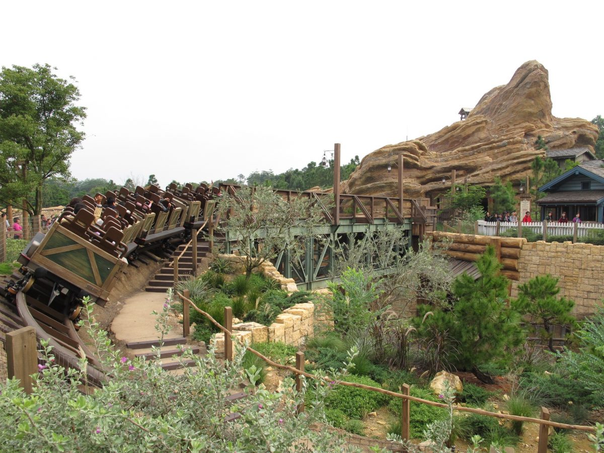 """Big Grizzly Mountain Runaway Mine Cars"" ride in Grizzly Gulch, Hong Kong Disneyland."
